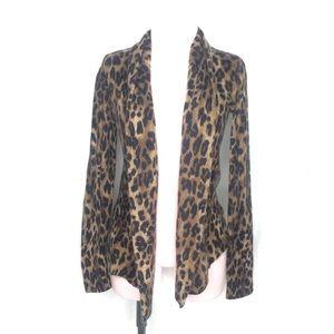 Cashmere Animal Leopard print open cardigan XS